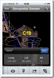 Display of a location marker in a DWG on AutoCAD WS mobile