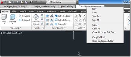 Drawing Tabs App options in right-click in AutoCAD 2013