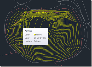 AutoCAD Drawing with topo polylines as yellow