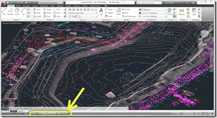 Drawing Tool Buttons highlighted in AutoCAD 2013 status bar
