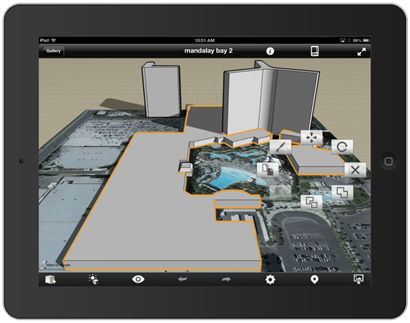 Autodesk Formit 2.0 on iPad with Mandalay Bay Hotel & Casino Model