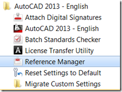 Windows Start Menu for AutoCAD 2013 showing Reference Manager