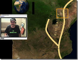 My Screen and webcam with Zombie shirt presenting on Kenya Research