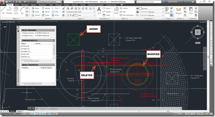 Differences in the Two Drawings Highlighted by AutoCAD Compare DWG App