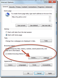 IE 9 Internet Options Dialog