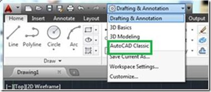 command: WSCURRENT and setting it to AutoCAD Classic