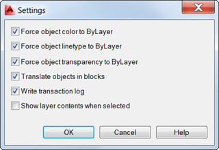 AutoCAD Layer Translator Settings