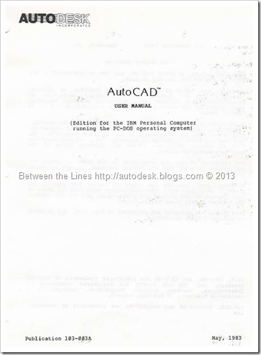 First Published AutoCAD User Manual for AutoCAD v1.1 from May 1983