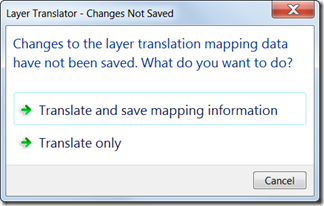 AutoCAD Layer Translator Save Mappings Alert