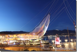 "Janet Echelman's ""Skies Painted with Unnumbered Sparks"" is suspended 700 feet complimenting the beauty of the Vancouver British Columbia waterfront"