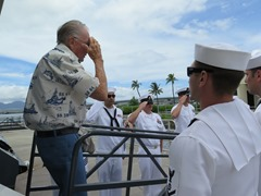 USS Arizona Survivor Don Stratton Saluting Navy