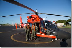 Shaan Hurley and Pete Kelsey with US Coast Guard Helicopter