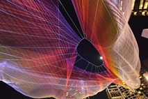 """Janet Echelman's """"Skies Painted with Unnumbered Sparks"""" is suspended 700 feet complimenting the beauty of the Vancouver British Columbia waterfront Photo credit Ema Peter"""