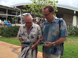 Autodesk's Pete Kelsey with USS Arizona survivor Don Stratton and the 3D print of the Cooking pot and coke bottle.