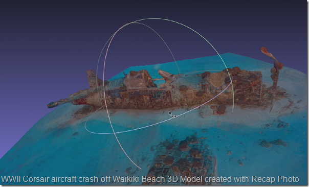 WWII Corsair aircraft crash of Waikiki 3D Model by NPS Brett Seymour