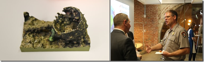 The USS Arizona 3D capture project was being shown off including the color 3D printed cooking pot. In attendance was Scott Pawlowski of the US National Park Service.