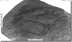 Highly detailed and accurate 3D textured mesh of the dinosaur footprint created with Autodesk Project Memento
