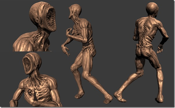 3D character like a human crossed with a lamprey named the Viscerator