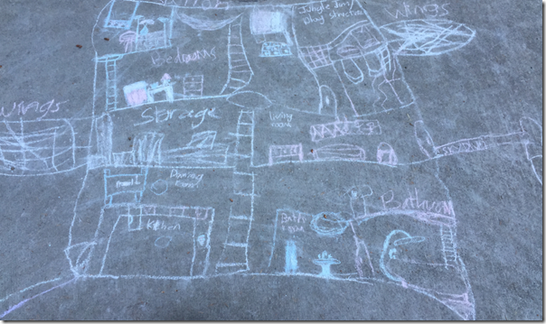 Flying House Design in chalk by a child with imagination and no limits