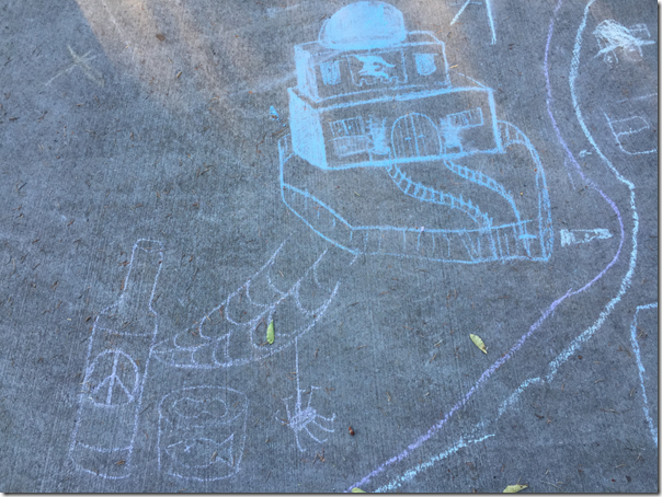 Adults house design in chalk