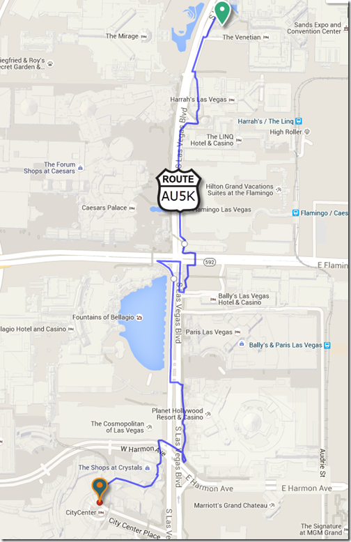AU5K from the Venetian to City Center Place (2.5km - 1.5miles each way)