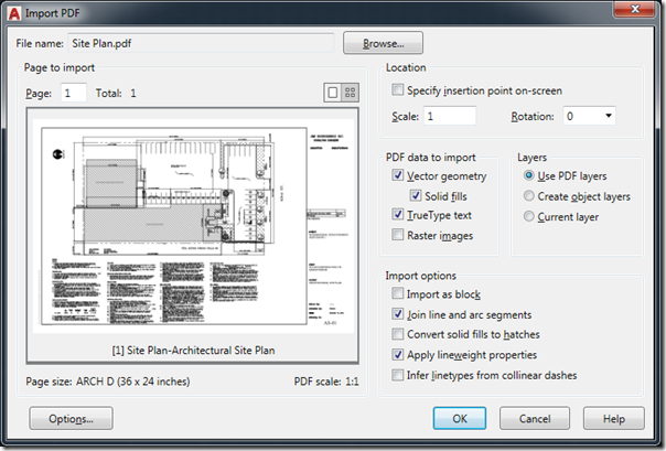 AutoCAD 2017 Import PDF as Vectors (Between the Lines)