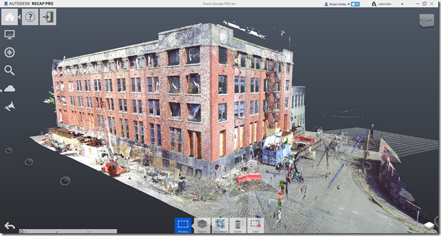 Laser scan of the exterior in Autodesk ReCap