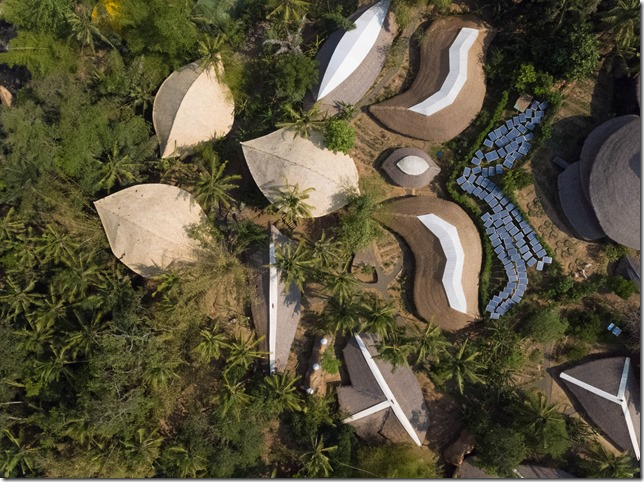 Bali Green School campus as seen by drone