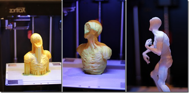 The project looks pretty creepy on the 3D printer