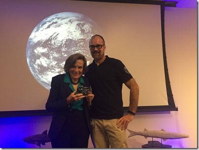 Dr. Sylvia Earle and myself with the 3D print I had created of her submersible for her.