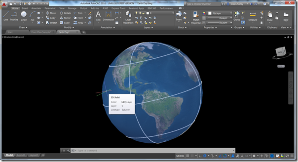 3D Earth model in AutoCAD 2016