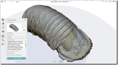 Publishing to Autodesk Memento Gallery