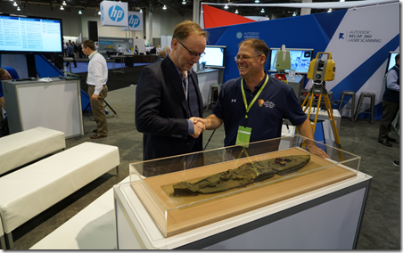 Autodesk's Pete Kelsey and NPS Scott Pawlowski with the 3D print