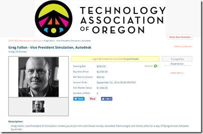Oregon  2016 Tech Exec Auction - Autodesk Drone Option