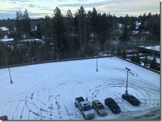 The Autodesk Parking Lot this Morning.. Still Snow...