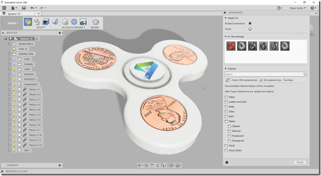 The spinner design in Fusion 360