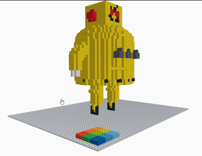 Instructables robot in LEGOs using Tinkercad brick workspace by Guillermo Melantoni Cortabarria
