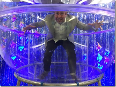 Jason Medal-Katz playing in the large plastic mold for the submersible dome by DOER Marine.