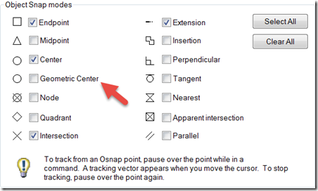 OSNAP Settings