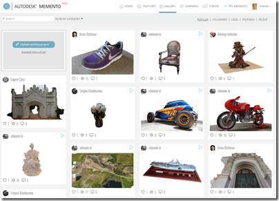 The New Autodesk Memento 3D Gallery