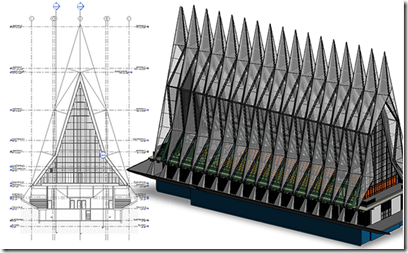 United States Air Force Academy Cadet Chapel design in Autodesk Revit