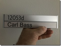 Carl Bass former Autodesk CEO cubicle nameplate