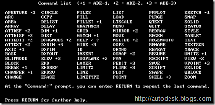 AutoCAD 2.18 Comand List