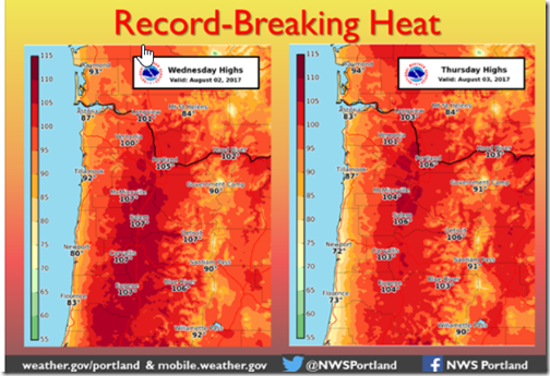 Portland Record Breaking Heat 8-2-17