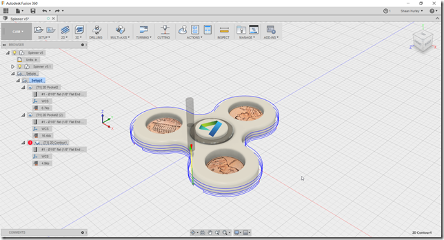 The spinner CAM path in Fusion 360