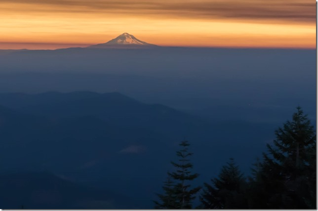 Mount Hood glowing during the eclipse