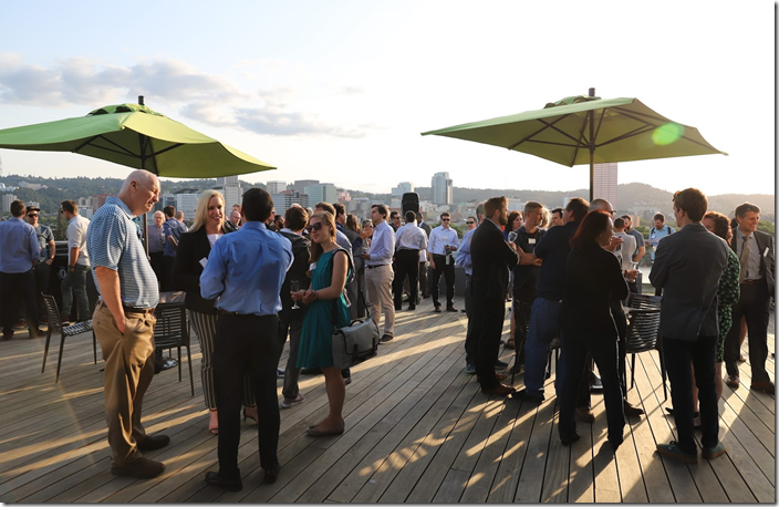 grand opening party on the 6th floor deck overlooking Portland