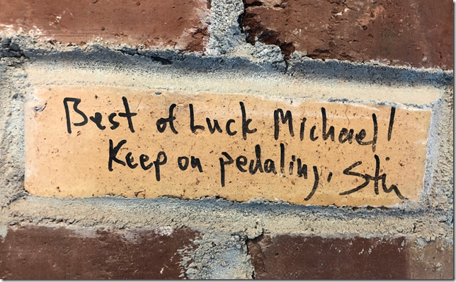 """Best of Luck Michael! Keep on Pedaling, Stu"""