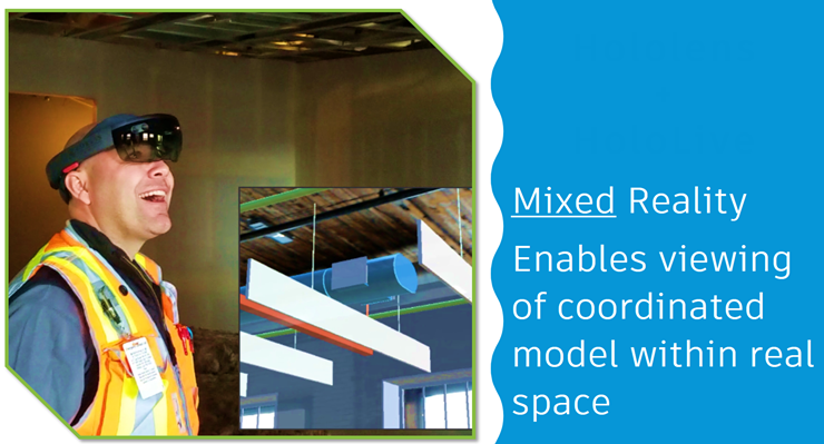 """Mixed Reality Enabled viewing of coordinated model within real space"" –Phil Miller of Fortis Construction"
