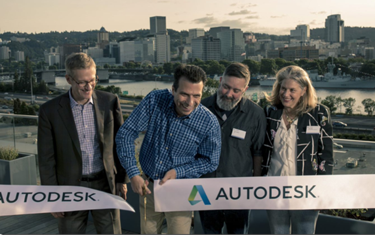 Autodesk Portland Office Grand Opening ribbon cutting with Autodesk CEO Andrew Anagnost
